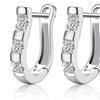 Silver Hoop Earrings with Crystal Diamonds