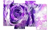 Purple Rose Floral Metal Wall Art 48x28 4 Panels