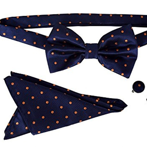 NEW Tuxedo PreTied Black And White Polka Dot Formal Bow Tie Adjustable Bowtie