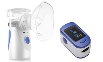 Fingertip Pulse Oximeter and Portable Mesh Nebulizer Handheld Family Health Care