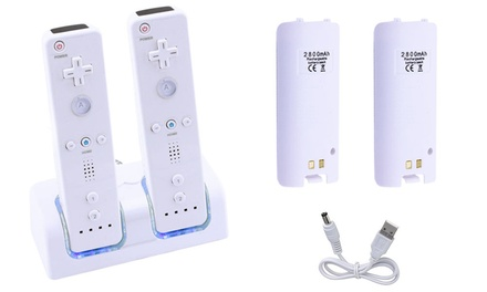 Wii Remote-Charging Station with 2 Remote Batteries (Black or White)