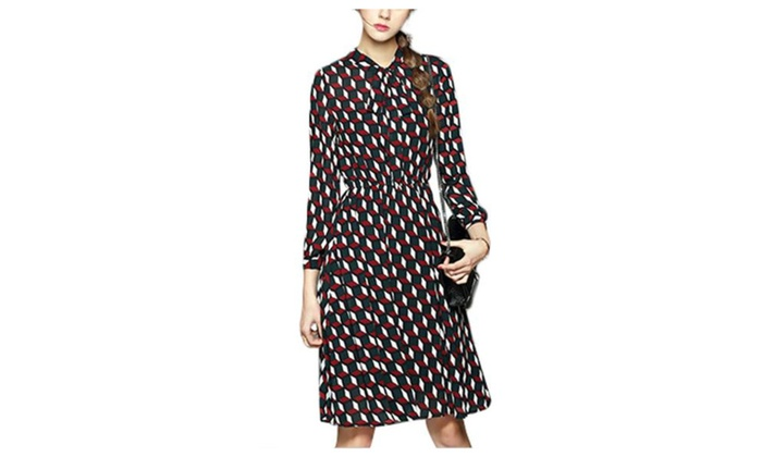 Women's High Rise Graphic Long Sleeve Hidden Zipper Dresses