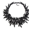 Vintage Big Leaf Metal Maxi Collar Pendant Necklace for Women