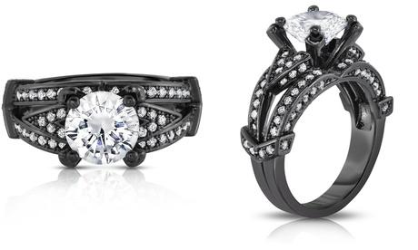 Black Rhodium Crystal Ring Made With Crystals From Swarovski