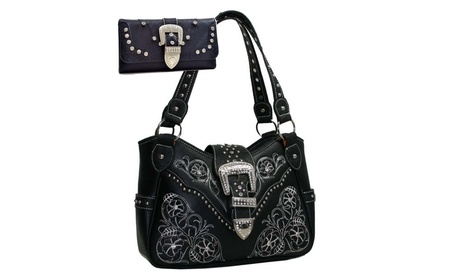 Western Embroidered Bling Rhinestone Studded Purse Wallet Set (Goods Women's Fashion Accessories Handbags) photo