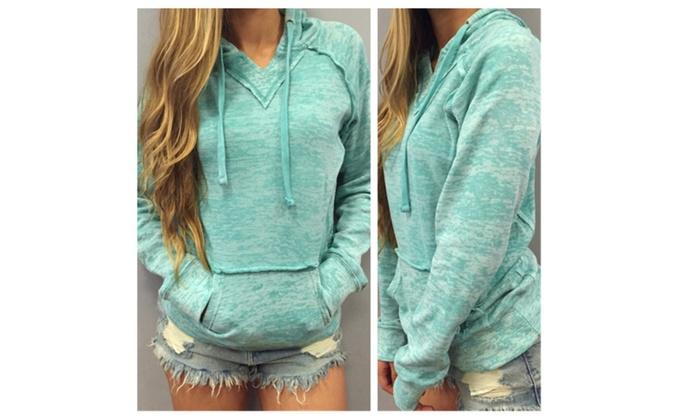 Womens Fashion Hoodie Light Green Sweatshirt