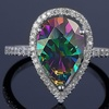 4.00 CTTW Rainbow Topaz Pear Cut Sterling Silver Ring by Valencia Gems