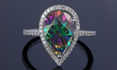 4.00 CTTW Genuine Rainbow Topaz Pear Cut Sterling Silver Ring by Valencia Gems