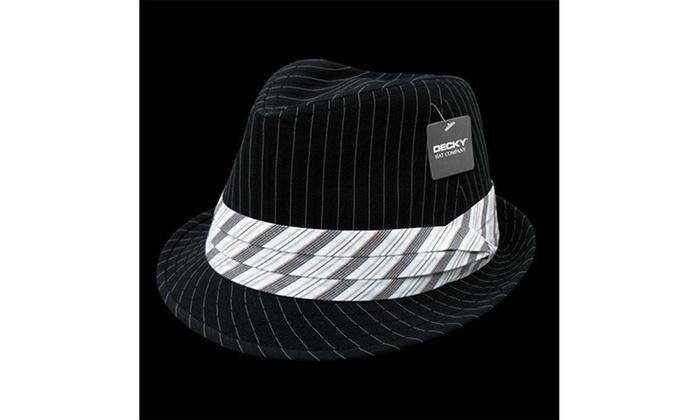 c5d8abb82de147 Decky 556-BLK-WHT-07 Pinstriped Fedora Hat Black White - Large & Extra Large  Black Label original.jpg