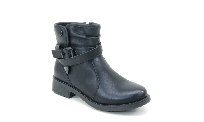 Distressed Buckle Flat Ankle Casual Women's Vegan Boots Black