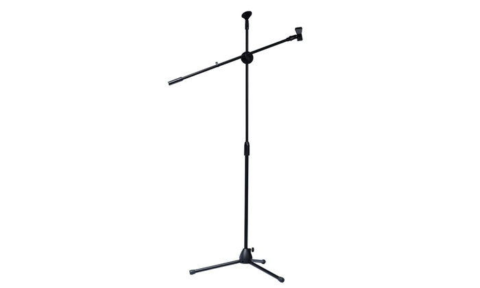 New Microphone Stand Dual Mic Clip Boom Arm Adjustable Foldable Tripod