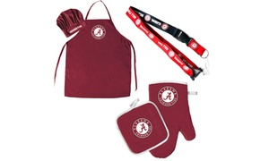 NCAA Chef Hat, Apron, Oven Mitt, Pot Holder and Lanyard Tailgating BBQ Gift Set