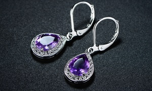 Peermont Genuine Amethyst with Diamond Accent Teardrop Earrings