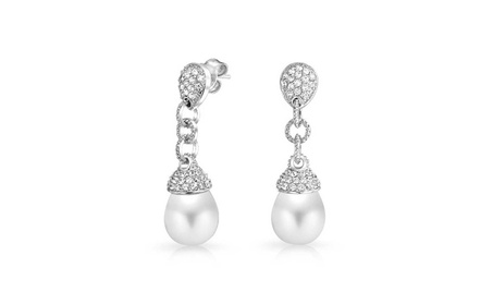 Bling Jewelry Pave CZ Simulated Pearl Bridal Drop Earrings 67866853-b7a0-4eb7-bea9-b34aca7fc38f
