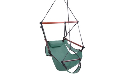 Hammock Hanging Chair Air Deluxe Sky Swing Outdoor Chair Solid Wood Was: $109 Now: $22.80.