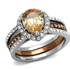 2.08Ct Pear Cut Champagne Cz Two Toned Stainless Steel Bridal Ring Set