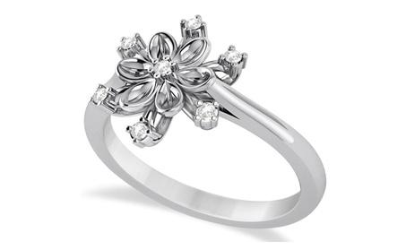 Small Diamond Snowflake Shaped Fashion Ring 14k White Gold (0.10ctw) 56963a56-ecef-47c0-a897-9522b305b930