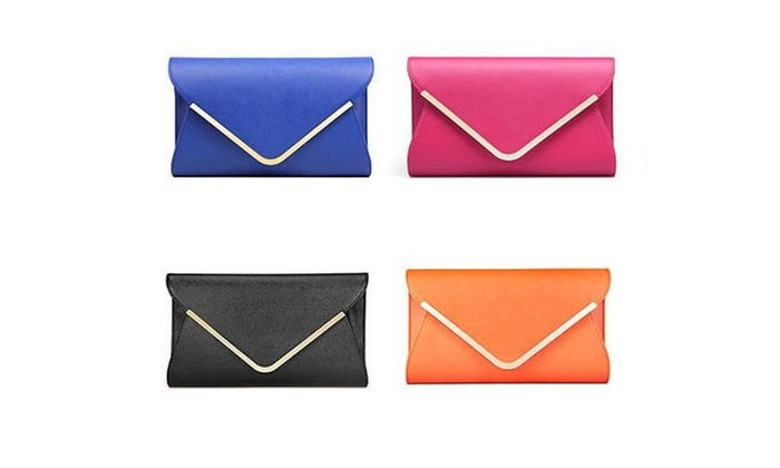 Women's  Clutch Purse Cross-body Envelope Baguette Clutch Chain Bag - Blue / one size