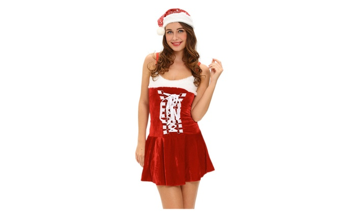 Women's Holiday Buckles Lingerie Christmas Costume – one size