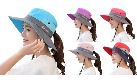 Women's Summer Sun Bucket Hats UV Protection Beach Foldable Mesh Fishing Cap