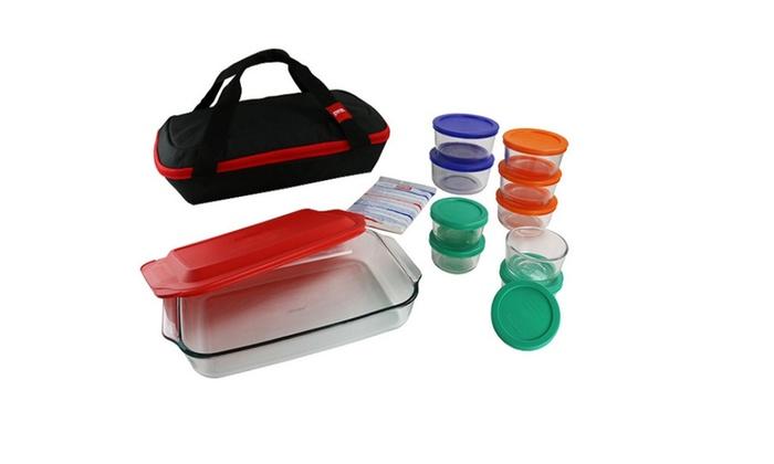Pyrex Pyrex 22-Piece Portable Set, Bakeware, Storage, Green, Blue ...