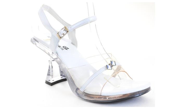Clear Jeweled White Wedding Sandal Women's Low Heels