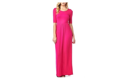Women'S Rayon Span Jersey Long Dress with Elastic Waistband 36a9bdca-02b4-4332-90fe-8dc13aefc193