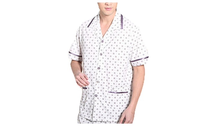 Men's Buttons Up Straight Hem PullOnStyle Fashion Pajamas Set