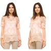 Lace Crochet Beautiful Floral Bell Sleeve Overlay Top