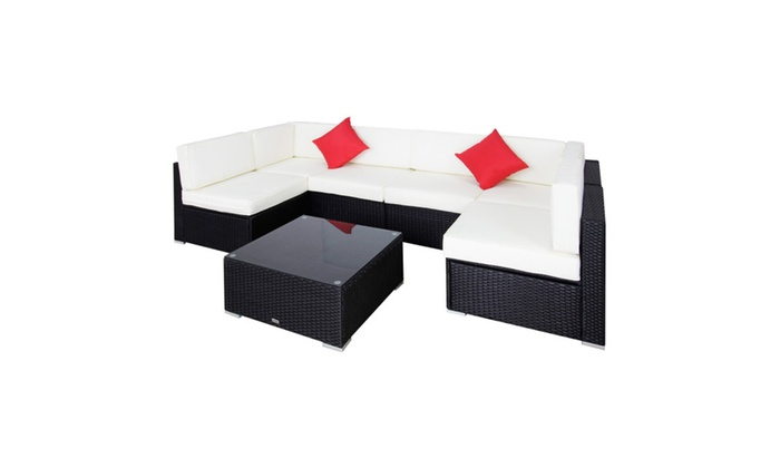 7 pcs garden furniture pe patio rattan wicker sofa sectional furniture