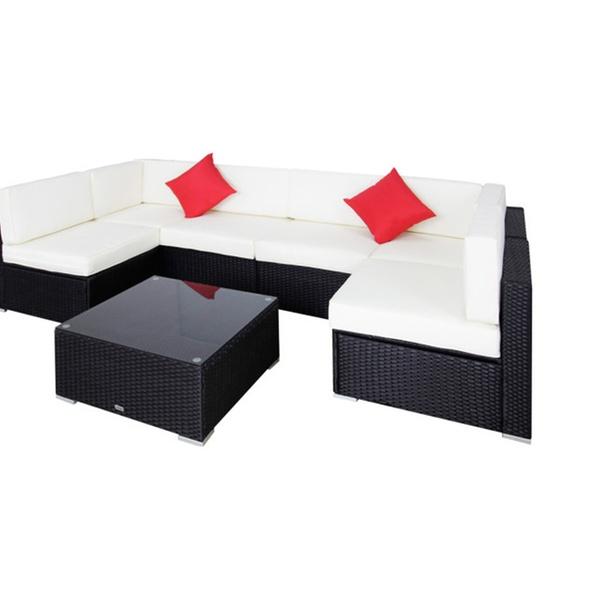 7 Pcs Garden Furniture Pe Patio Rattan Wicker Sofa Sectional