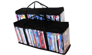 Evelots Set of 2 Portable DVD Blue-Ray Media Storage Case Bags, Holds 36 Each