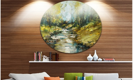 Creek in the Forest Oil Painting' Landscape Painting Circle Metal Wall Art 229889a1-edaf-43b6-b2d5-857474f59dec