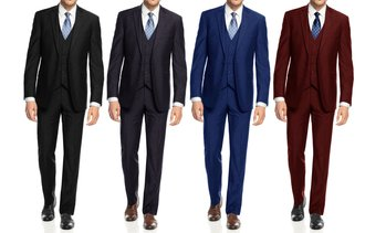 Braveman Men's Slim Fit 3PC Solid  Suits