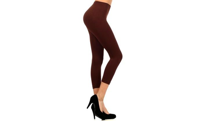 Lady's Solid Color Nylon Seamless Capri Leggings