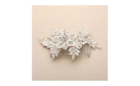 Sculptured European Lace Bridal Comb with Crystals and Sequins 4484HC efaec4a1-933e-4abc-9c30-6e70a0a1157a