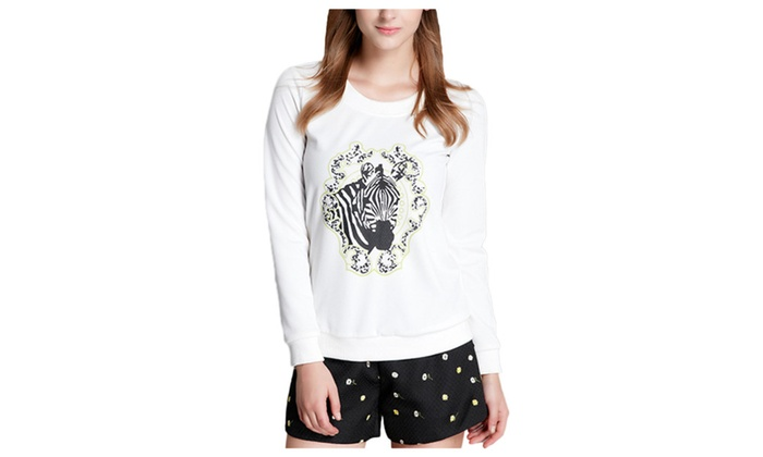 Women's Fashion Crew Neck Long Sleeves Printed Pullover Sweater