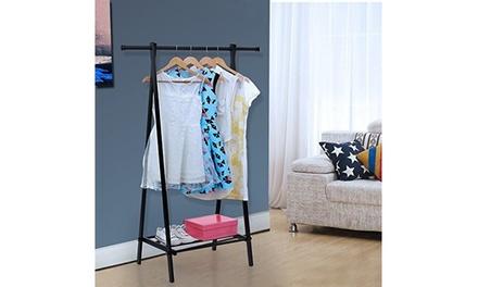 Garment Rack Metal Clothes Coat Shoe Storage Shelf Black