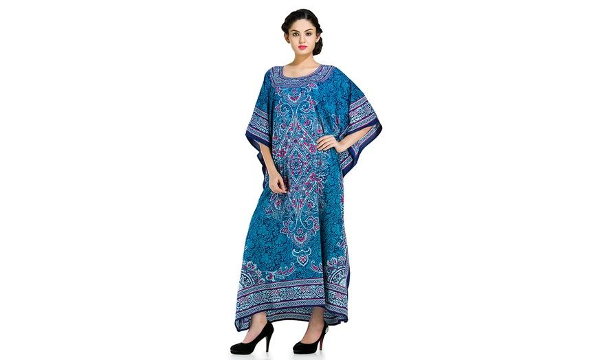 Blue Boho Caftan Kaftan Maxi Long Dress XL 1X 2X