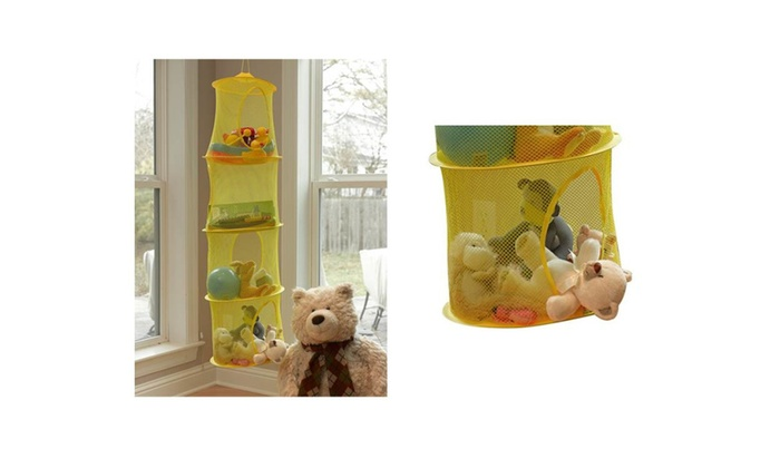 ... Kobzone: Toy Cubby Mesh Organizer Bag Children Bedroom Closet Hanging 4  Shelf