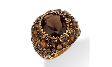 13.36 TCW Oval Genuine Smoky Quartz Crystal Ring df842a77-359b-4d87-a090-010ca7bdf434