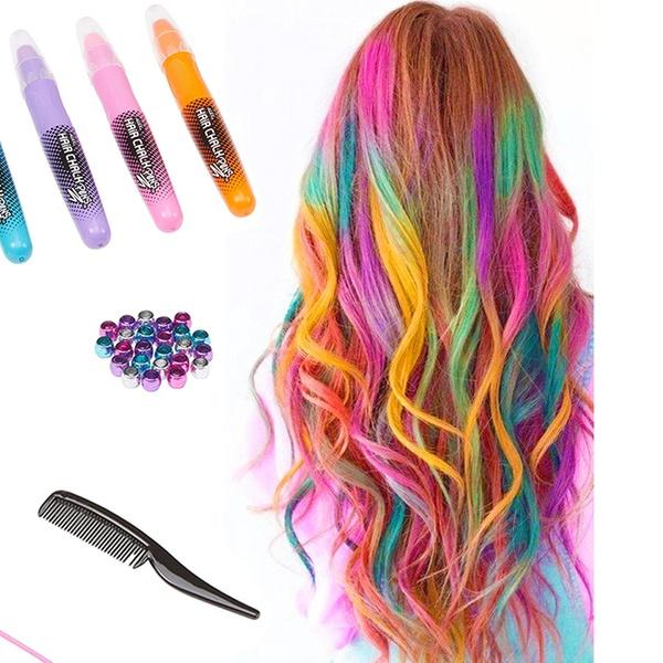 5 pcs Temporary Hair Coloring Chalk Colorful Temporary Non-Toxic Hair Chalk  Pens