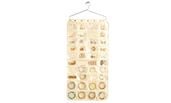 80 Pocket Double Sided Hanging Jewelry Organizer Groupon