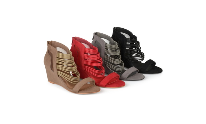 outlet high quality outlet pictures Journee Collection Multi-Strap ... Open Toe Women's Wedge Heels SUSInL