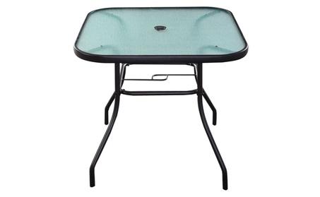 "32 1/2"" Patio Square Bar Dining Table Glass Deck Outdoor Furniture 041fa682-ff3c-44ce-927e-136e01f518c3"