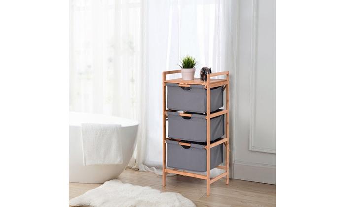 3 Drawer Bamboo Shelf Dresser Sliding