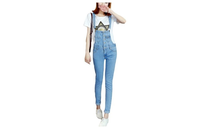 Women's Long Simple Fashion Mid Rise Solid Overalls