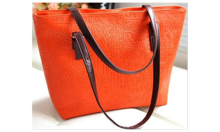 Women Handbag Shoulder Bag PU Leather Pictographic Script