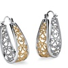 Two-Tone Filigree Hoop Earrings in Silvertone and Yellow Gold Tone