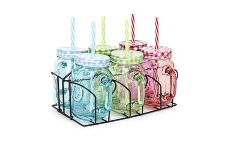 Set of 6 Colored Mason Glass Jars w/ BPA-Free Straws 9e592948-6d22-4c8a-a9c2-d636af8cc1fa